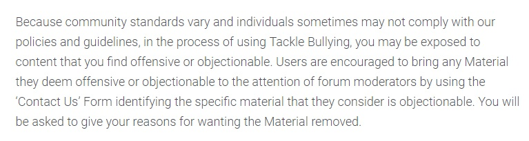 Tackle Bullying disclaimer: Offensive Content section
