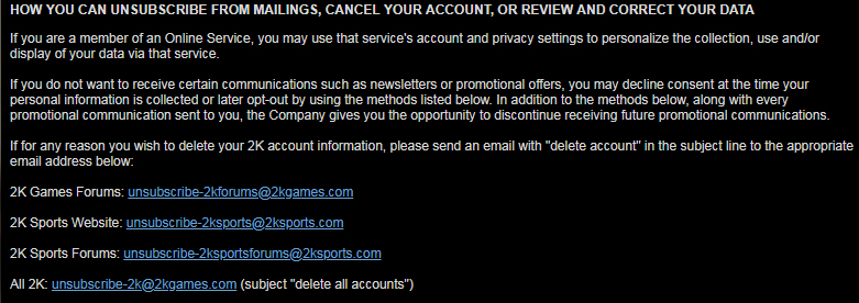 Take Two Privacy Policy: How you can unsubscribe from mailings, cancel your account or review and correct your data clause