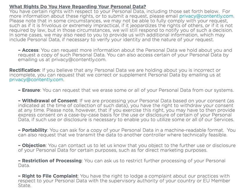 Contently Privacy Policy: What Rights Do You Have Regarding Your Personal Data clause