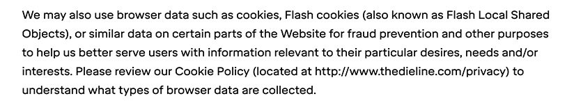 Dieline Privacy Policy: Automatic Information clause - Cookies section
