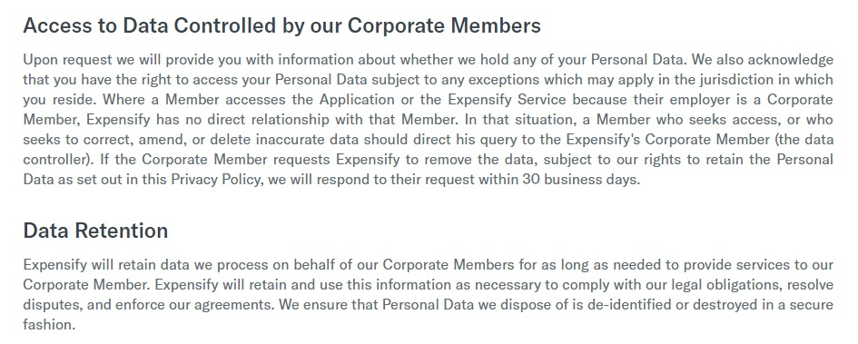 Expensify Privacy Policy: Access to data and data retention clauses