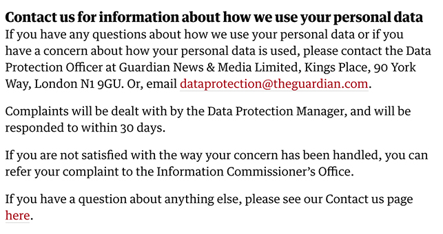 The Guardian Privacy Policy Contact information clause