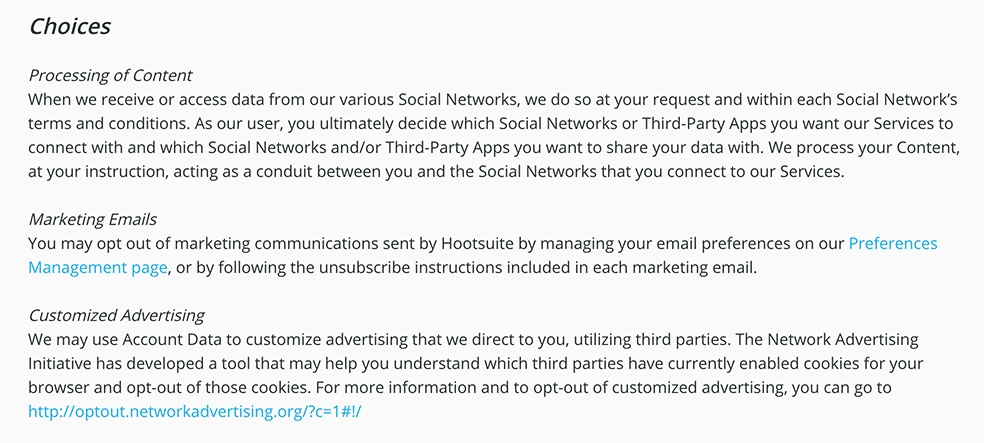 Hootsuite Privacy Notice: Choices for processing of content, marketing emails and customized advertising clause