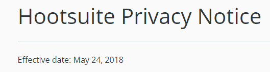 Hootsuite Privacy Notice: Effective date
