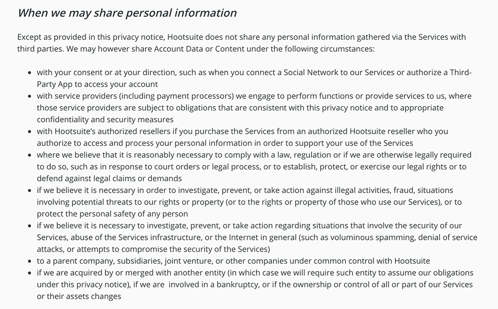 Hootsuite Privacy Notice: When we may share personal information clause