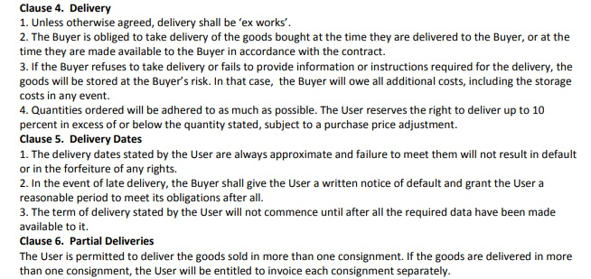 Innovation Affairs Terms and Conditions: Clauses addressing delivery dates