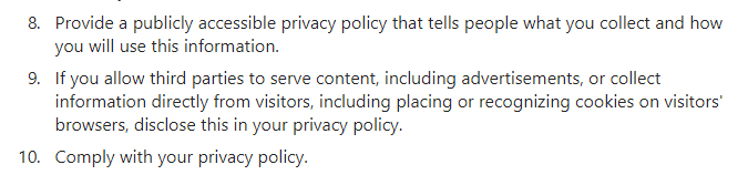 Instagram Platform Policy: Privacy Policy sections