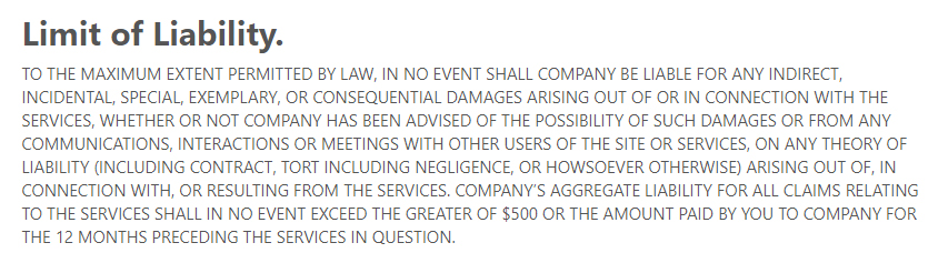 Law Insider Terms of Service: Limit of Liability clause