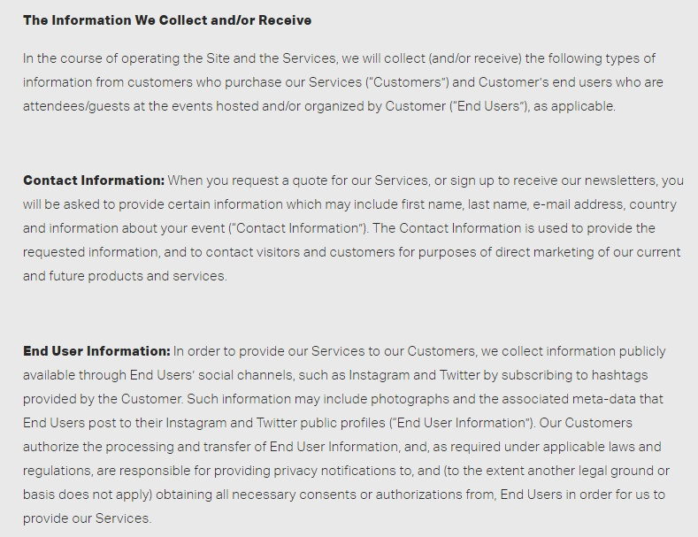 Luster Privacy Policy: The Information We Collect and or Receive clause excerpt
