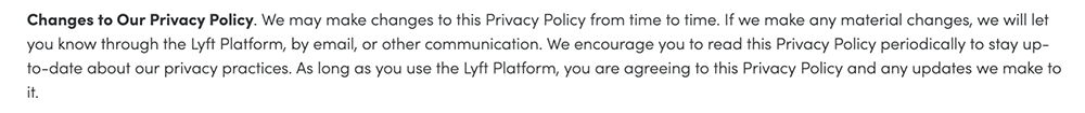 Lyft Privacy Policy: Changes to Our Privacy Policy clause