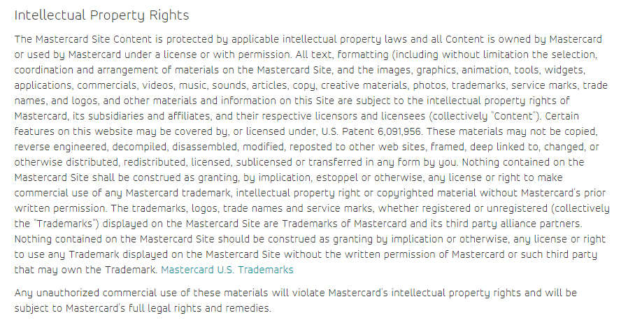 Mastercard Terms of Use: Intellectual Property Rights clause