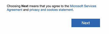 Microsoft sign-up: Choosing Next button means you agree to terms
