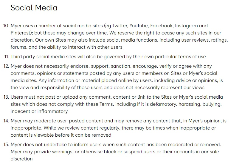 Myer Australia General Terms and Conditions: Social Media clause excerpt