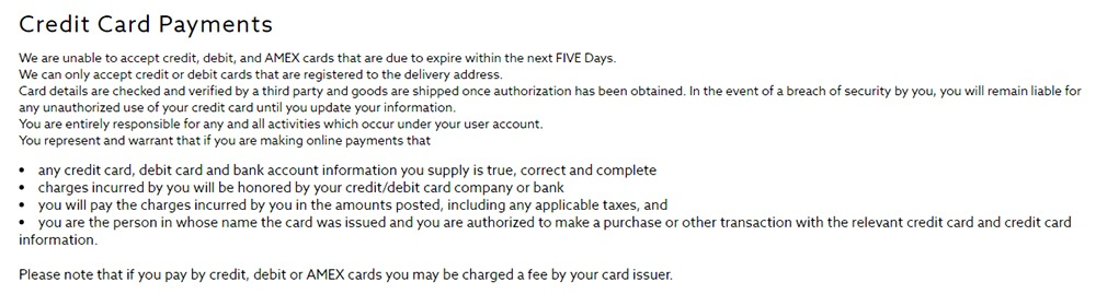 Next Terms and Conditions: Credit Card Payments clause