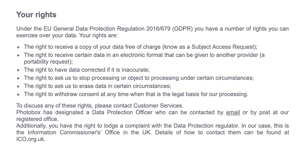 Photobox Privacy Policy: Your Rights clause