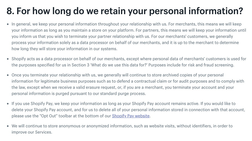 Shopify Privacy Policy: Data Retention clause