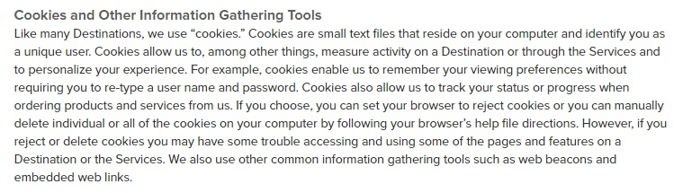Sincerely Privacy Policy: Cookies and Other Information Gathering Tools clause