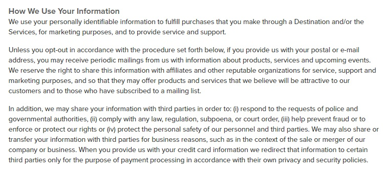 Sincerely Privacy Policy: How We Use Your Information clause