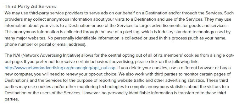 Sincerely Privacy Policy: Third Party Ad Servers clause