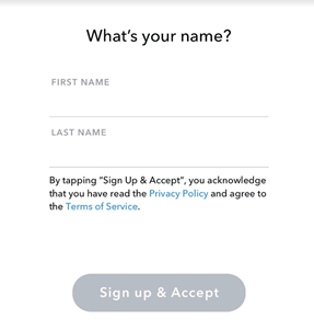 Snapchat sign-up form with button to accept Terms of Service and Privacy Policy
