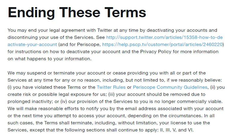 Twitter Terms of Service: Ending These Terms Termination clause