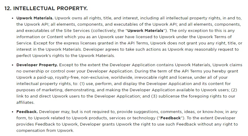 Upwork API Terms of Use: Intellectual Property clause