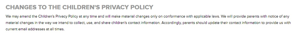 CBS Interactive Childrens Privacy Policy: Changes to the Privacy Policy clause