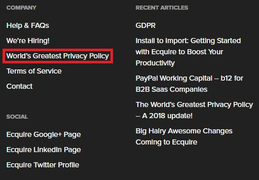Ecquire footer with links and Privacy Policy highlighted