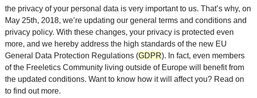 Excerpt of Freeletics Updated Privacy Policy notice email