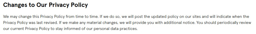 Glossier Privacy Policy: Changes to our Privacy Policy clause