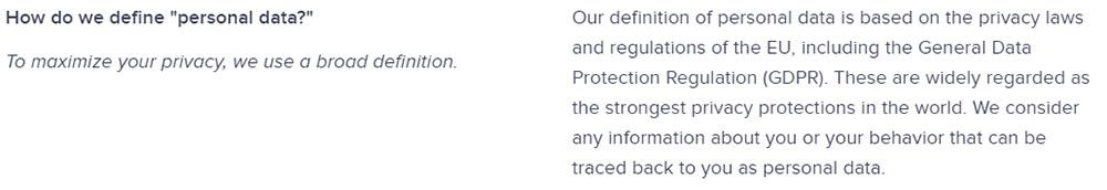 Startpage Privacy Policy: Definition of Personal Data section