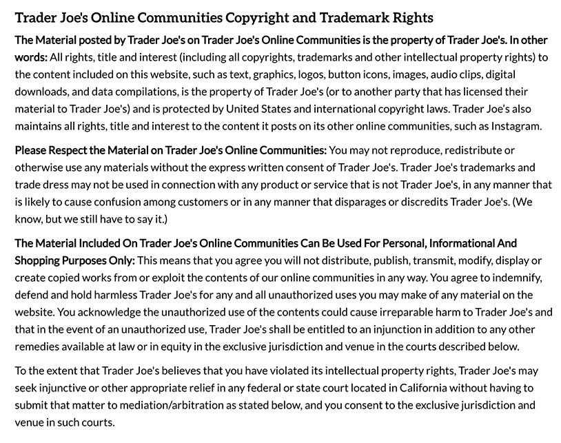 Trader Joe's Online Communities Terms of Use: Copyright and Trademark Rights clause