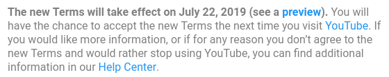 YouTube email notice for updated Terms of Service: Effective date section