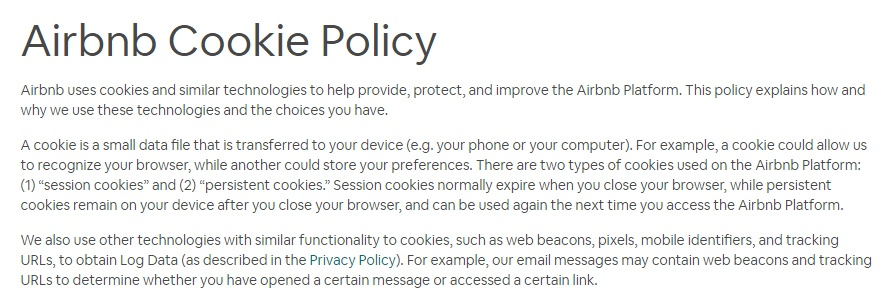 Airbnb Cookie Policy Intro clause