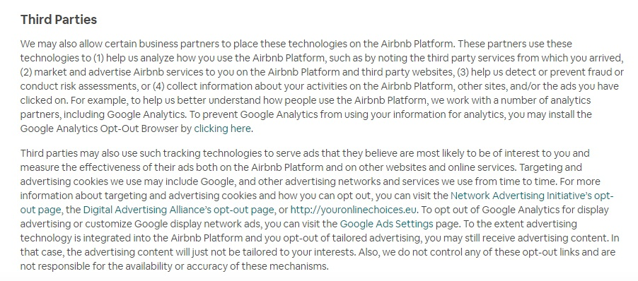 Airbnb Cookie Policy: Third Parties clause