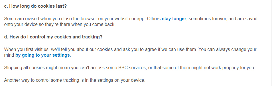 BBC Privacy Policy: Cookies and Similar Tracking Technologies clause: How long do cookies last and how to control cookies sections