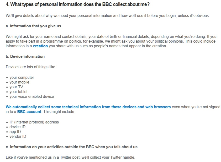 BBC Privacy Policy: What types of personal information does the BBC collect about me clause excerpt