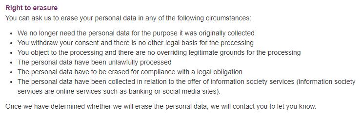 Durham University Privacy Notice: Right to erasure clause