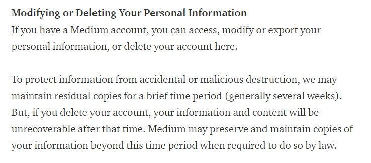 Medium Privacy Policy: Modifying or Deleting Your Personal Information clause