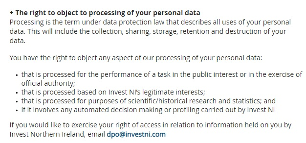 Nibusinessinfo UK Privacy Policy: The right to object to processing of your personal data clause