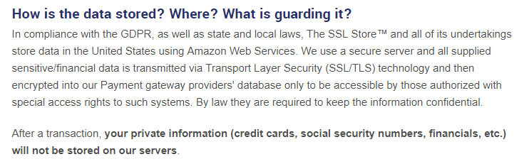 The SSL Store Privacy Policy: Data security clause