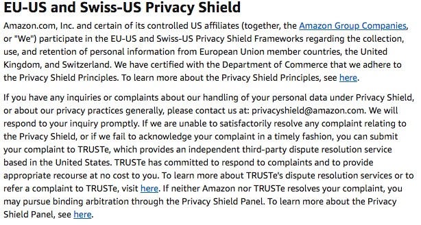 Amazon UK Privacy Notice: EU-US and Swiss-US Privacy Shield clause