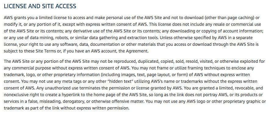 Amazon Web Services Terms of Use: License and Site Access clause