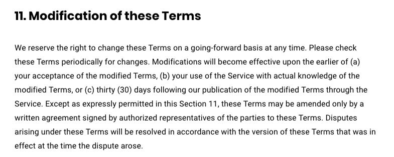 Buffer Policies and Procedures: Modification of these Terms clause
