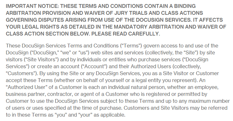 Docusign Terms and Conditions: Accept Terms clause excerpt