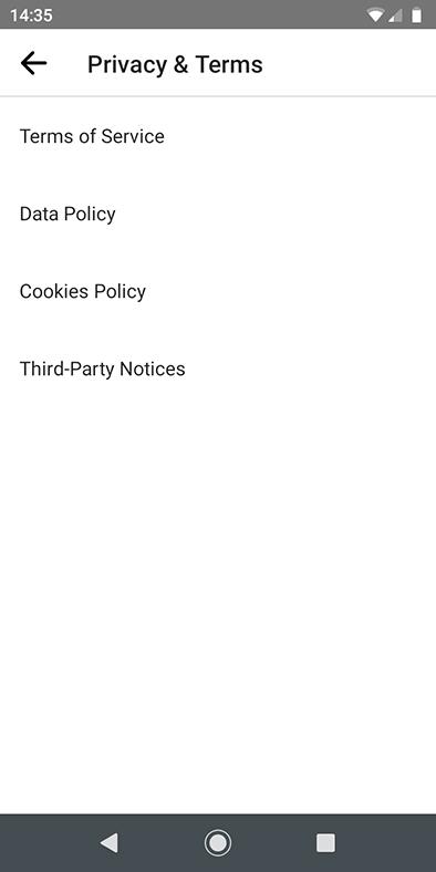 Facebook Lite Messenger app: Privacy and Terms links menu