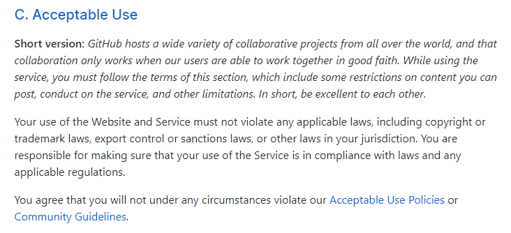GitHub Terms of Service: Acceptable Use clause