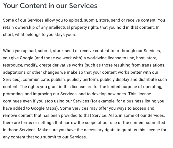 Google Terms of Service: User generated content clause