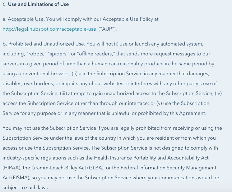 Hubspot Customer Terms of Service: Use and Limitations of Use clause excerpt