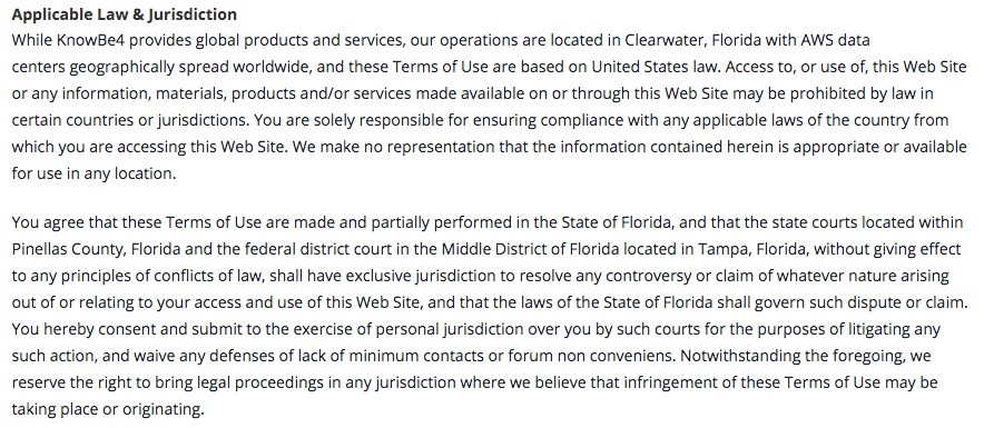 KnowBe4 Terms of Service: Applicable Law and Jurisdiction clause